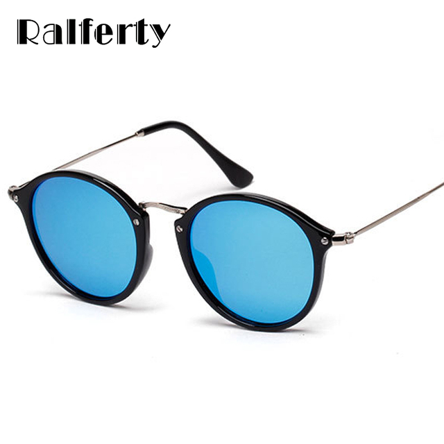 55c7eb5923 Ralferty Vintage Round Polarized Sunglasses Women Men Brand Designer  Mirrored Black Sun Glasses UV400 Shades Female