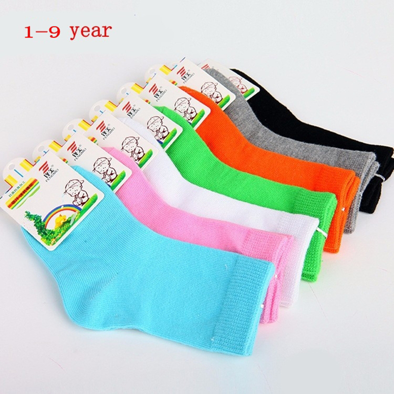 4 Pairs Children Socks Spring&Autumn Candy Color Cotton Girls Socks With Boys Socks Kids Socks 1-9 Year