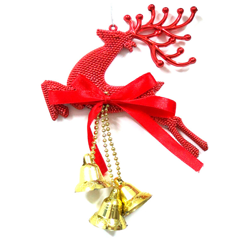 12pcslot xmas theme decorations santa deer style doll pendents christmas reindeer accessories with bells festival favors hx565 - Christmas Reindeer Decorations