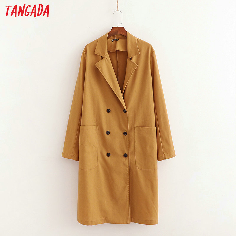 Tangada women cotton linen long   trench   coat elegant double-breasted long   trench   windbreaker uutwear korean fashion 1D162