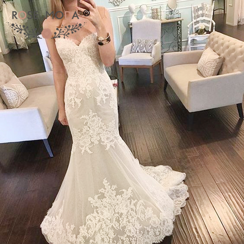 Lace Fit And Flare Wedding Gown: Strapless Sweetheart Alencon Lace Mermaid Wedding Dress