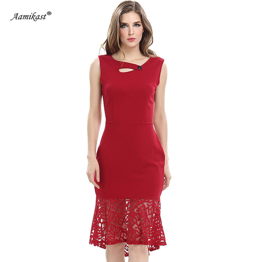 Aamikast 2019 Women Sexy Lace Mermaid Dress Elegant Sleeveless Ruffle  Vestidos Summer Irregular collar Party Office 41c5d06dea2a