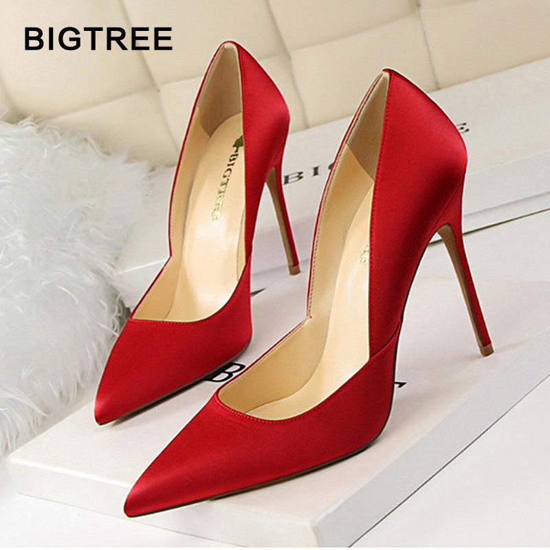 2018 New Arrival Women High Heels Solid Silk Shallow Women Pumps Sexy Pointed Toe Thin High Heels Shoes Women's Wedding Shoes floral embroidered heels women pumps solid pointed high heels toe shallow fashion high heels 10cm shoes women wedding shoes
