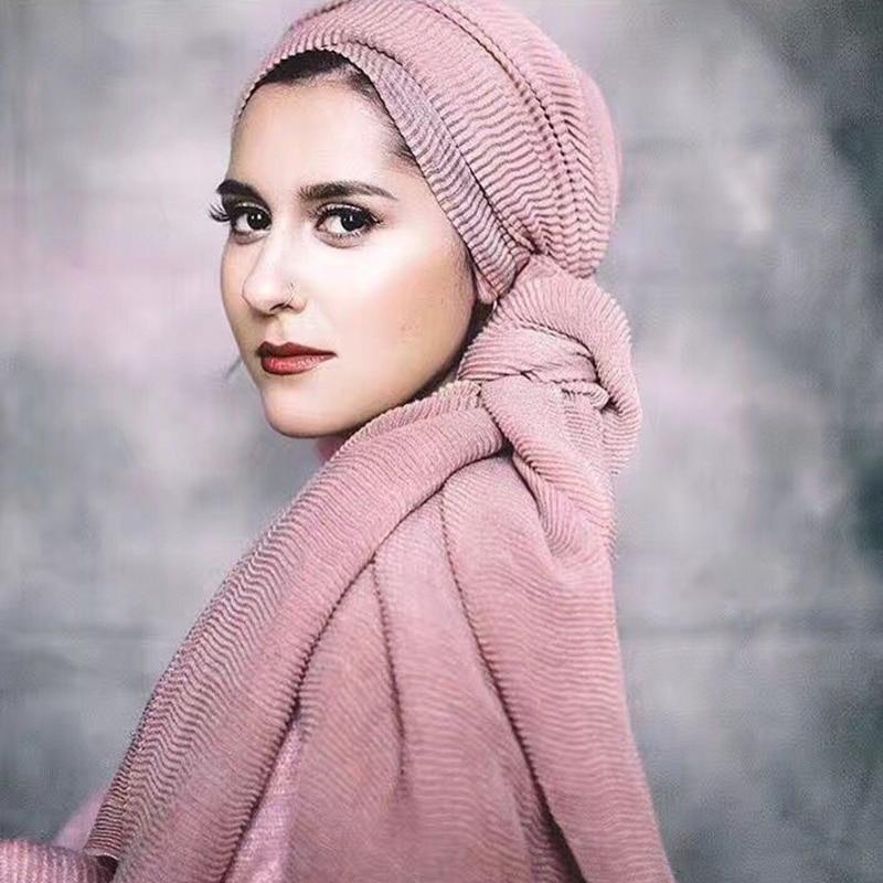 Design quente inverno onda quente enrugado muçulmano envoltório  hijab lenço de algodão crinkle longo cachecóis macios hijab xale cape 25  coresCachecóis femininos
