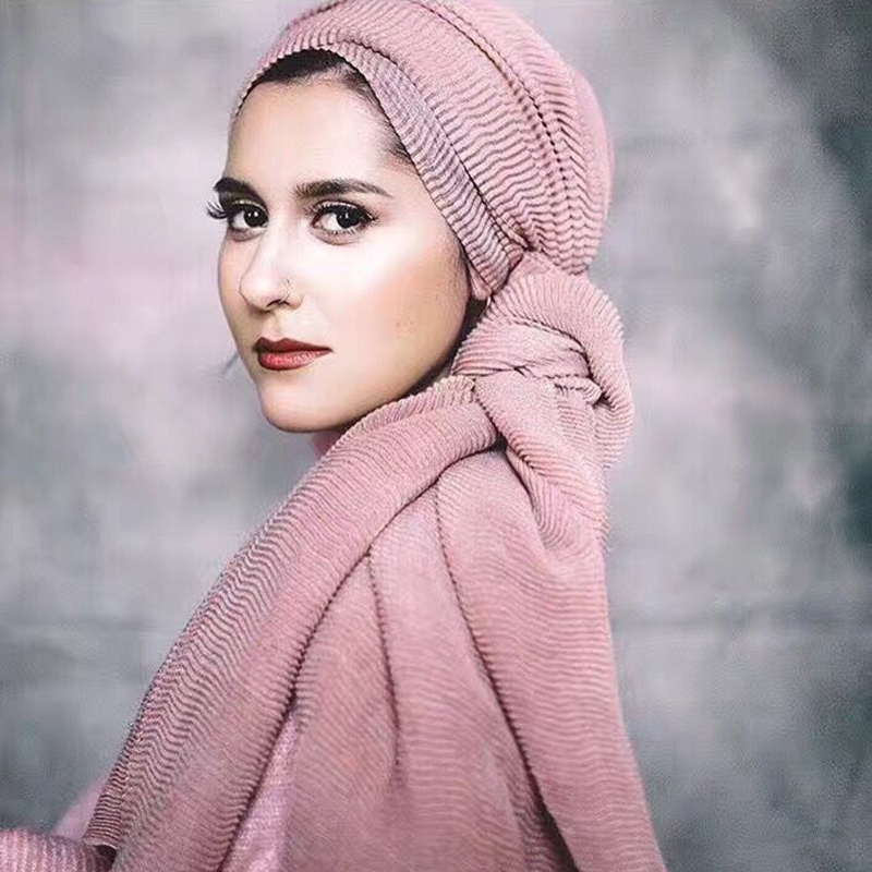 Hot Design Winter Warm Wave Wrinkled Muslim   wrap   hijab   scarf   Cotton Crinkle Long Soft   Scarves   Hijab Shawl Cape 25 colors