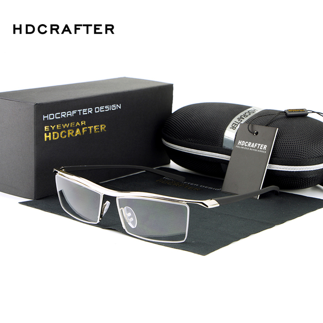 HDCRAFTER 2018 Gözlük Çerçevesiz Kare Miyopi Gözlük Çerçevesi Erkekler Marka Rahat Kayma dayanıklı Gözlük Çerçeveleri Erkekler için