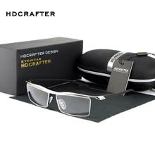 إطار نظارات قصر النظر مربع بدون إطار من HDCRAFTER لعام 2018 للرجال إطار نظارات مريح مقاوم للانزلاق للرجال
