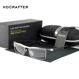 Image 1 - Hdcrafter 2018 óculos de miopia quadrados sem aro quadro masculino marca confortável resistente ao deslizamento armações para homem