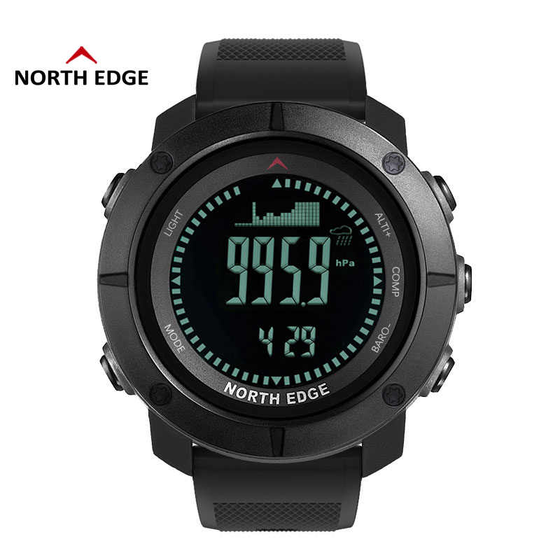 NORTH EDGE Men Sport Watch Altimeter Barometer Compass Thermometer Pedometer Worldtime Watches Digital Running Climbing Watches
