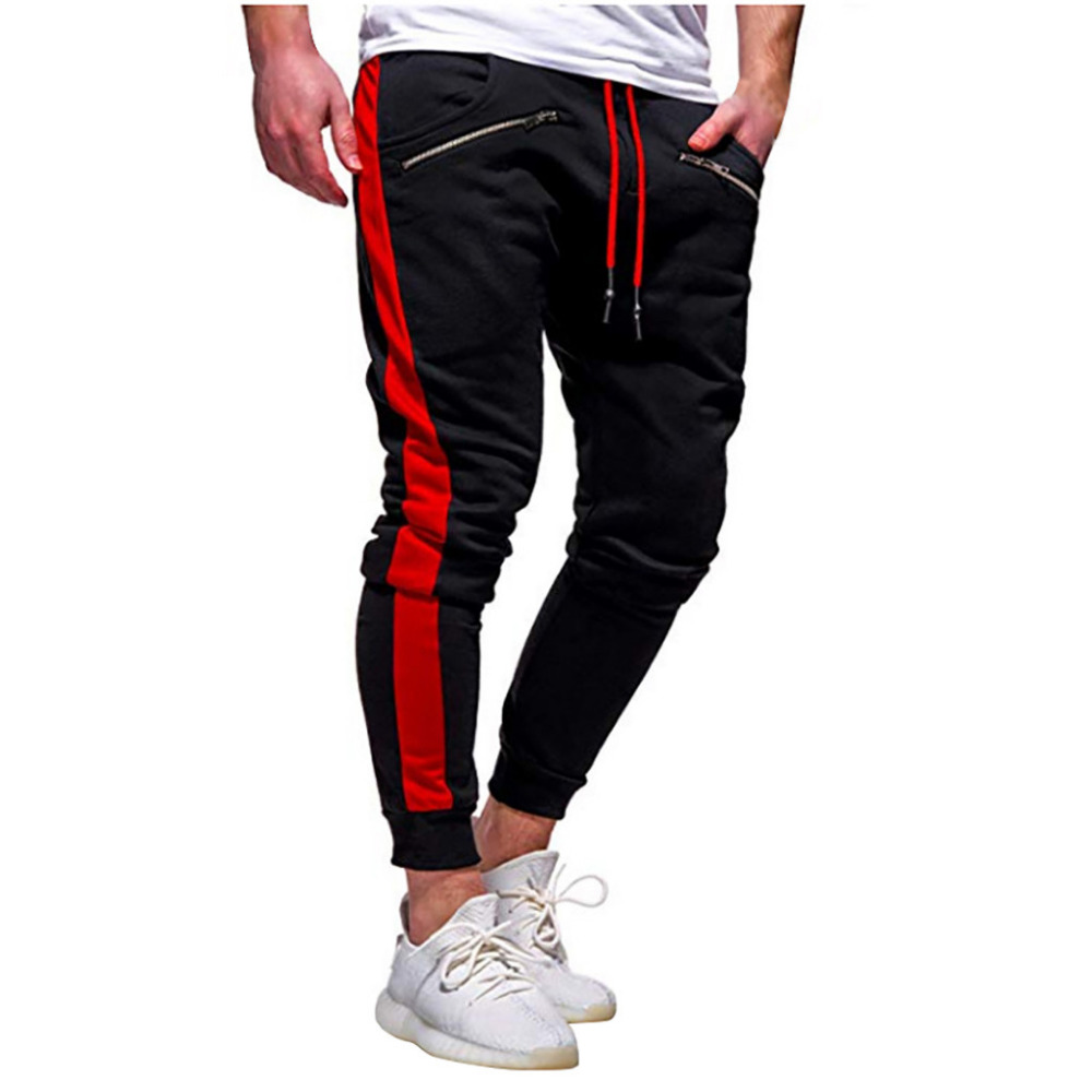 2019 Men\`s zipper solid color jogging pants casual pocket sports cargo pants outdoor sports harem pants men Quick drying 40J6 (4)