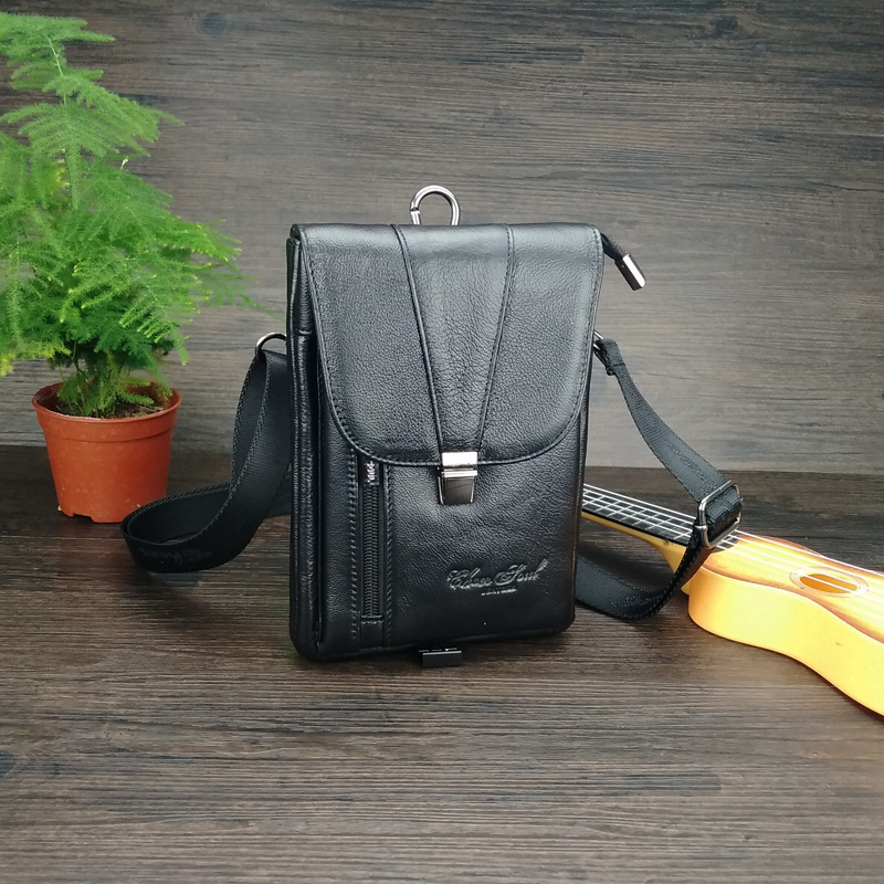все цены на Genuine Leather Fashion Men Waist Belt Bags Small Fanny Pack Phone Pouch Wallet Brand Messenger Shoulder Bag Travel Waist Pack