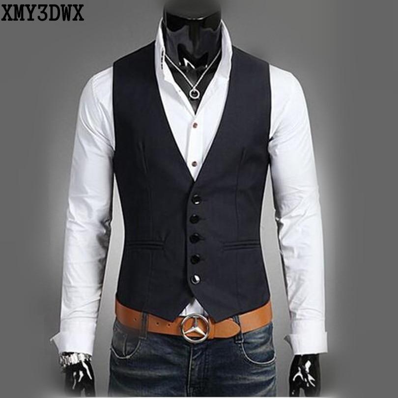 The new 2016 men pure color fashion V neck leisure business suit vest Men s slim