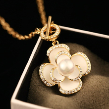 gold plated Collier Femme Fashion luxury jewelry statement rhinestone camellia flower Necklaces Pendants for font b