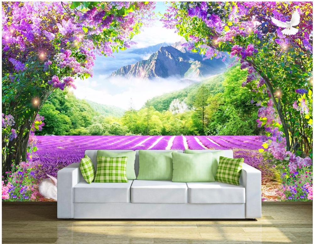 WDBH custom mural 3d photo wallpaper Fresh lavender vine arch TV background wall 3d wall murals wallpaper for living room shinehome sunflower bloom retro wallpaper for 3d rooms walls wallpapers for 3 d living room home wall paper murals mural roll