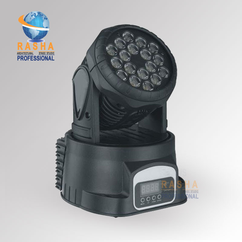 Rasha18pcs*3W RGB Brightness Multi Color LED Moving Head Wash Light,Stage Moving Head