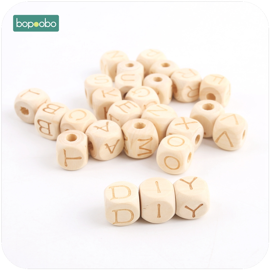 Bopoobo 12mm 20pc Baby Accessories Square Shape Chew Wooden Teething Maple Letter Beads DIY Teething Jewelry  Baby Teether