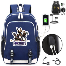 Fortnite Backpack with USB Charging Port and Headphone interface – style4 blue