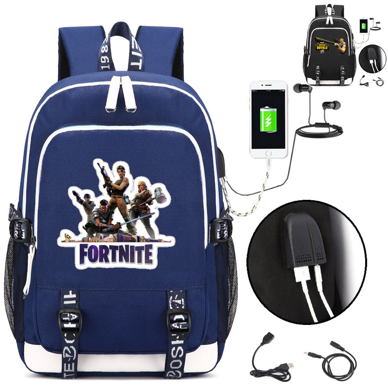 Fortnite Backpack with USB Charging Port and Lock &Headphone interface for College Student Work