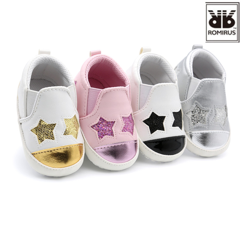 New Fashion Star Baby Shoes Newborn Boys Girls First Walkers Infant Toddler Soft Bottom Anti-slip Prewalker Sneakers Crib Shoes