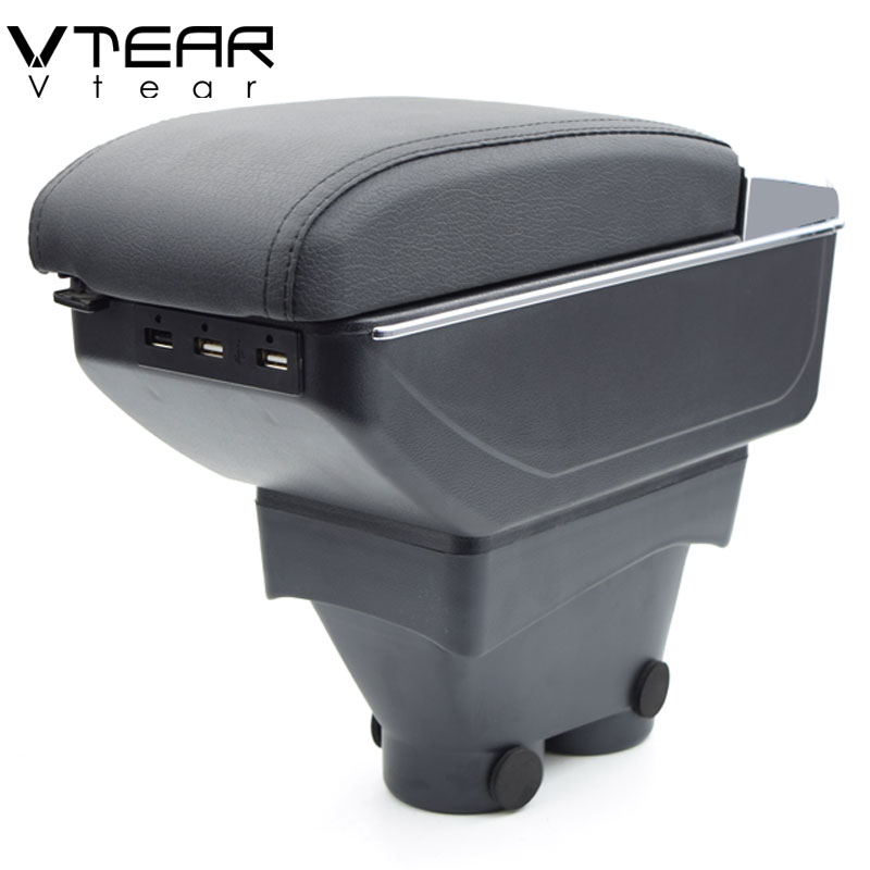 Vtear For peugeot 208 armrest box USB Charging heighten Double layer central Store content cup holder