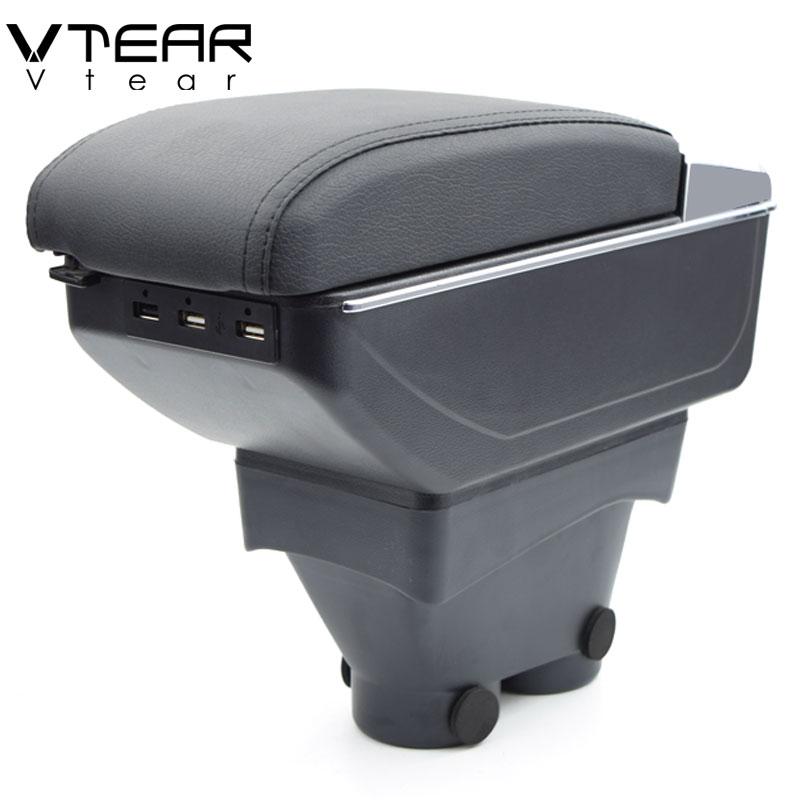 vtear for peugeot 208 armrest box usb charging heighten. Black Bedroom Furniture Sets. Home Design Ideas