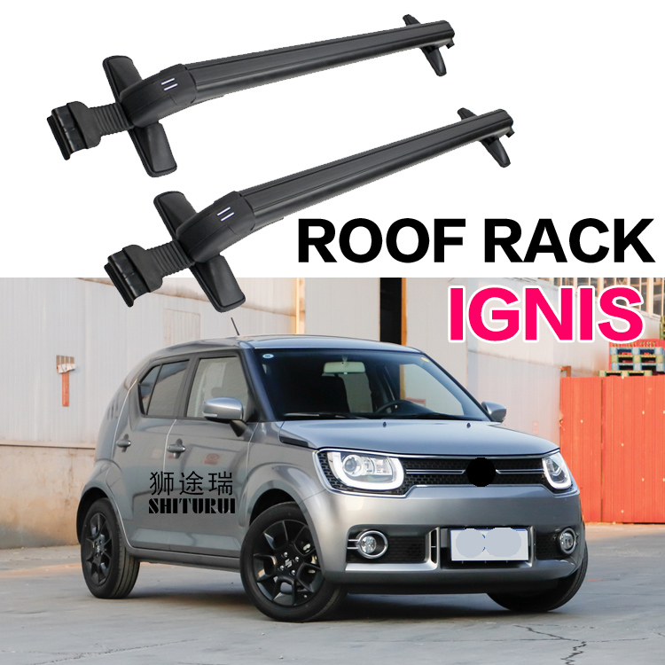 SHITURUI 2Pcs Roof bars For SUZUKI IGNIS 2016 2017 2018 2019 Aluminum Alloy Side Bars Cross Rails Roof Rack Luggage Carrier shiturui for skoda fabia ultra quiet truck roof bar car special aluminum alloy belt lock