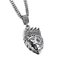 NYUKใหม่มงกุฎสิงโตหัวจี้คอซิลเวอร์โกลด์ที่มีb ling R Hinestoneสัตว์พระมหากษัตริย์ที่มีคุณภาพดีฮิปฮอป...