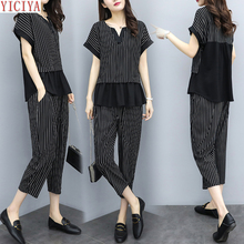 YICIYA Black Plus Size Large 2 Piece Set Striped Co-ord Women Pants Sets and Top Ruffles Office Suits 2019 4xl 5xl Clothing