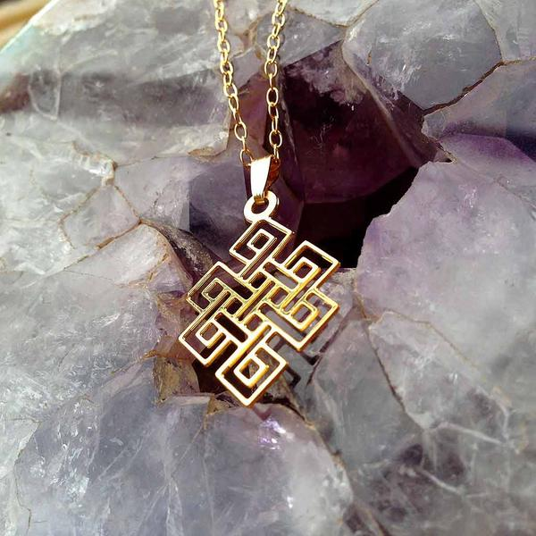 10PCS The endless knot and Eternal knot Necklace Gold Auspicious