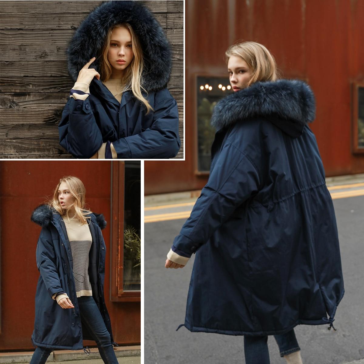 JAZZEVAR 2019 nowy zima kobiety 90% białe kaczki dół kurtki oversize długi płaszcz puchowy duże prawdziwe raccoon parka z futrzanym kapturem w Płaszcze puchowe od Odzież damska na  Grupa 2