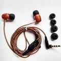 Fone de ouvido de Madeira de alta Qualidade Premium Genuíno 3.5mm Precision Bass Fones De Ouvido com fones de ouvido microfone para iphone 6 s pc não para ps4 xbox one