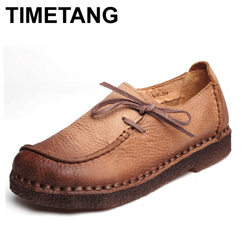 TIMETANG Handmade vintage women's shoes genuine leather female moccasins loafers soft cow muscle outsole casual shoes flats цены онлайн