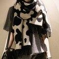 Большой Молочного Скота Животных Корова Печати Черно-Белые Шарфы Тяжелые Большие Качественные, Комфортные и Кашемира Шарф