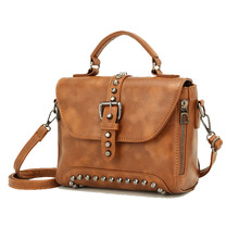 Women Messenger Bags 2018 Crossbody Bags Vintage Leather Bags Handbags Women Famous Brand Rivet Small Shoulder Bag недорого
