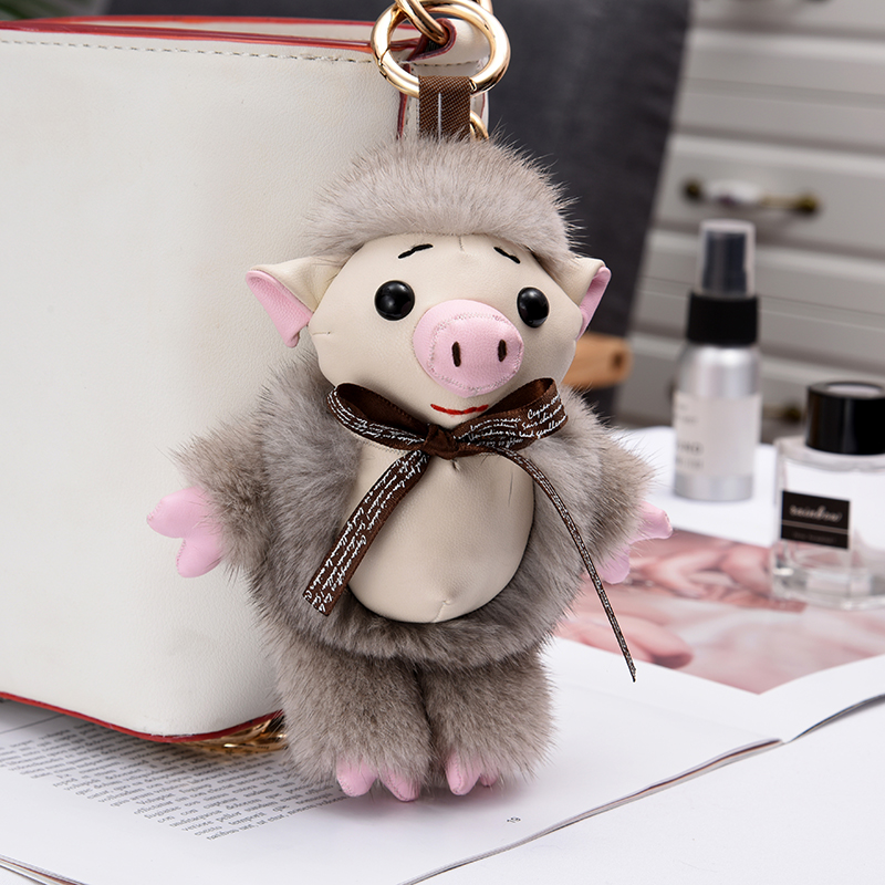 Imported 12cm real mink fur small pig bag pendant fur fashion bag key ring pendant cute Meng plush decoration keychains