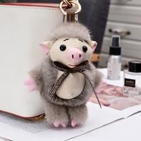 Imported 12cm real mink fur small pig bag pendant fur fashion bag key ring pendant cute Meng plush decoration keychains