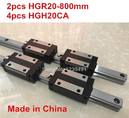 HG linear guide 2pcs HGR20 - 800mm + 4pcs HGH20CA linear block carriage CNC parts 2pcs sbr16 800mm linear guide 4pcs sbr16uu block for cnc parts