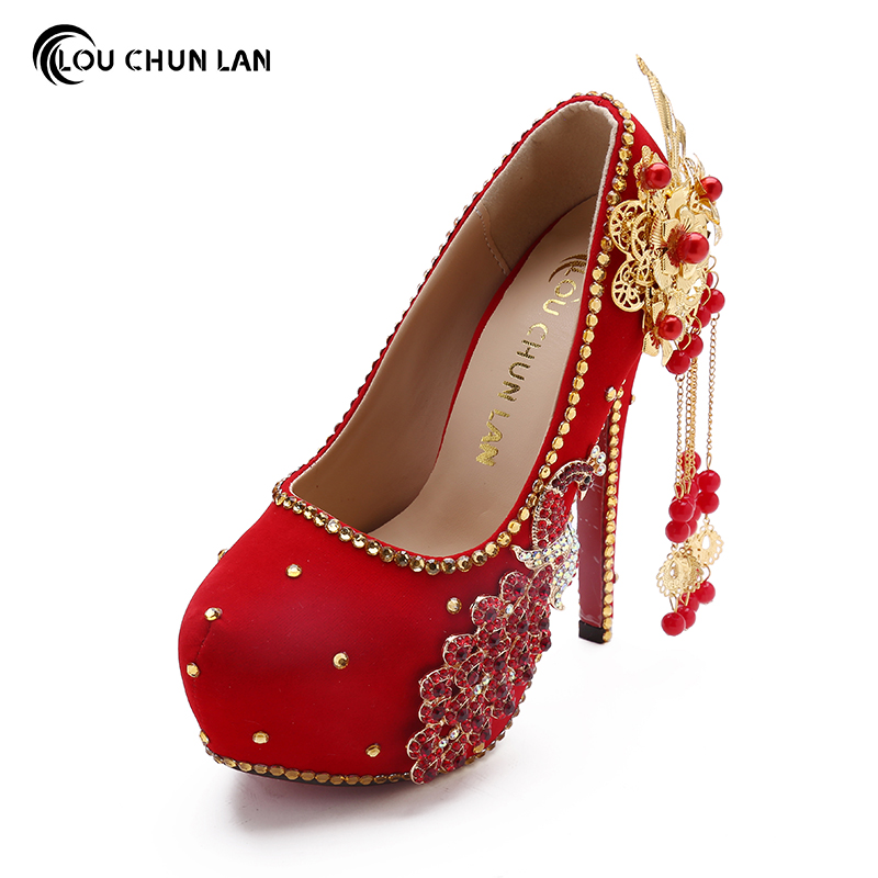 Shoes Women's Shoes Red Wedding Shoes Chinese Bride Shoes Super High heeled Pumps Waterproof 3 5cm platform bridesmaid peacock