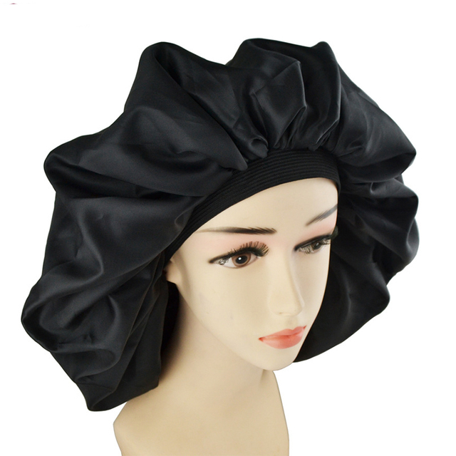 Süper Büyük Boy Güzellik Salonu Kap Saten Bannet Kap Uyku Gece Kap golf sopası kılıfı Bonnet Şapka Kıvırcık Yaylı Saç siyah Renk