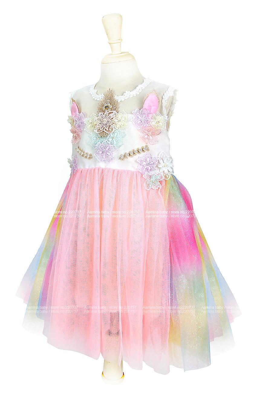 269529fea Compre Unicorn Girls Dress Rainbow Embroidery Toddler Una Línea ...
