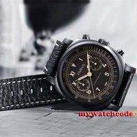 Роскошный 44 мм парный кофейный набор PVD покрытием хронограф кварцевые мужские часы P636