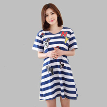Casual Summer Nightgown Female Night Gown Cotton Short-Sleeved Nightdress Ladeis Night Shirts Sleepshirts Sleepwear Women E0210