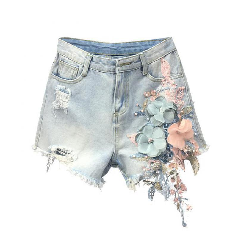Summer Fashion Women Designer Embridery Tassel Ripped Hole Denim Hot Shorts , Loose Female Woman Flower Embroidered Jeans Shorts