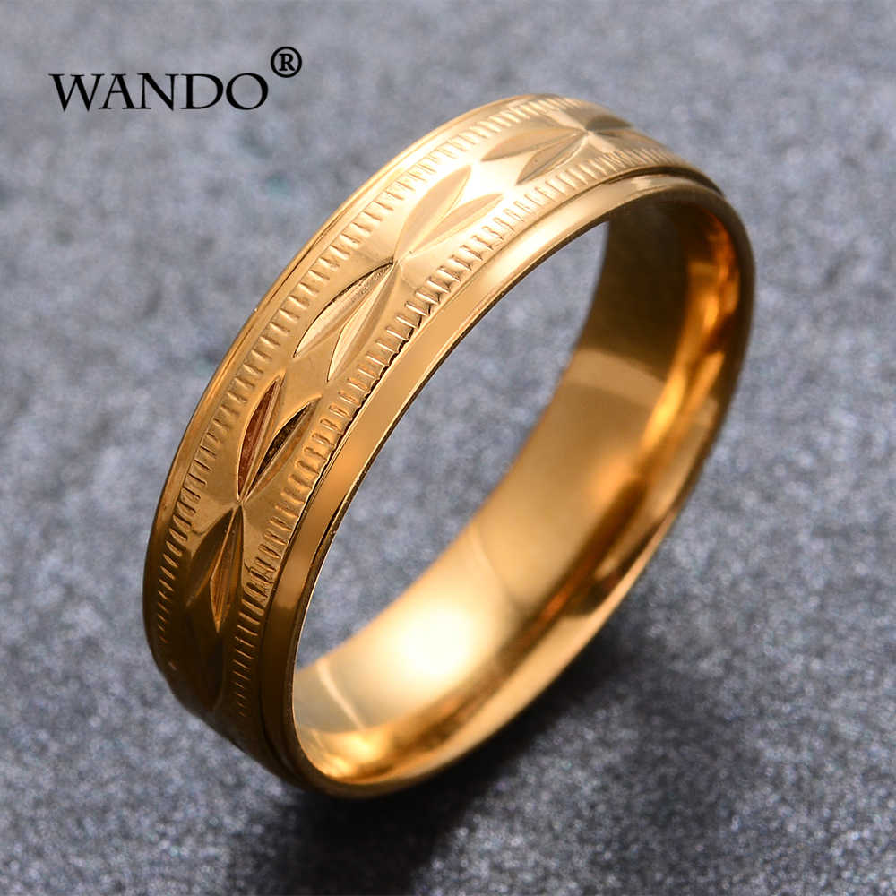 WANDO Dubai Ethiopian gold colour Never fade Stainless steel ring African Israel Arab Birthday wedding gift men/women jewelry