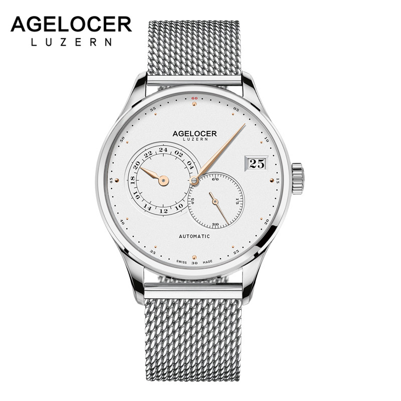 AGELOCER Swiss Men Automatic Watches Luxury Unique Hands Date Steel Sport Watch Men Relojes Mechanical Watch Relogio Masculino unique smooth case pocket watch mechanical automatic watches with pendant chain necklace men women gift relogio de bolso