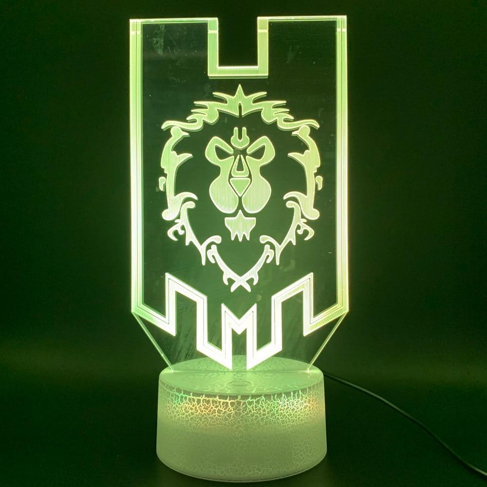 Novelty Light Game World Of Warcraft Lion Flag Home Decor Lamp Birthday Gift For Kid Child Room 3d Optical Led Night Light Lamp
