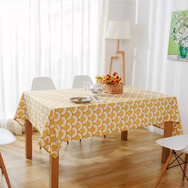 Yellow Fish Scale Pattern Luxury Tablecloths European Style Rectangle  Linens Table Cloth Weddings Home Decor Elegant Table Cover