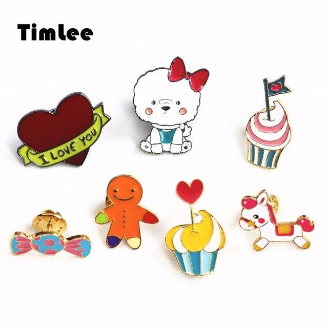 Timlee X205 Cartoon I lOVE YOU Heart Gingerbread Man Teddy Design Cute Cup Cake Candy Trojan Metal Brooch Pins Gift Wholesale