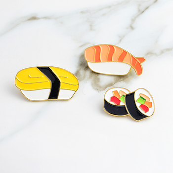 Japanese Food Sushi Enamel Pins California Roll Pin Ebi Sushi Pin Tamago Sushi Pin Food jewelry Japanese food lover gifts image