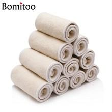 [Bomitoo] 10 piezas lavable reutilizable pañal de tela de bebé inserto de cáñamo de algodón carbón de bambú pañales de un tamaño apto todos 36x14cm